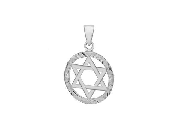 Sterling Silver Diamond Cut Circle 'Star of David' Pendant