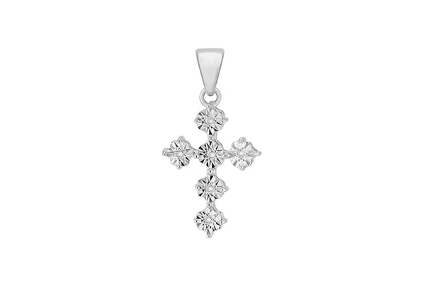 Sterling Silver Zirconia  Stone Set Fancy  Cross Pendant