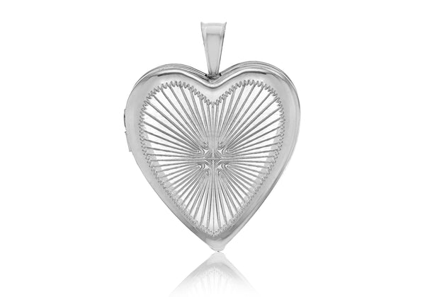 Sterling Silver Rhodium Plated Diamond Cut 19.5mm Heart Locket Pendant