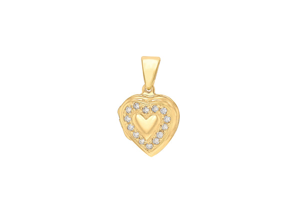 Sterling Silver Yellow Gold Plated Zirconia Heart Locket Pendant