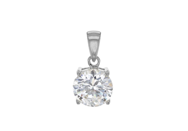 Sterling Silver Rubover Zirconia  Cluster Pendant