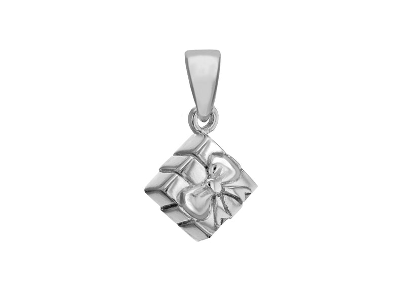 Sterling Silver Wrapped Present Charm Pendant