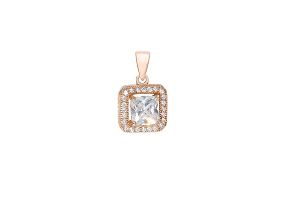 Sterling Silver Rose Gold Plated Zirconia  Square Pendant