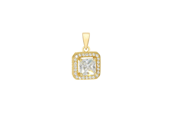 Sterling Silver Yellow Gold Plated Zirconia  Square Pendant