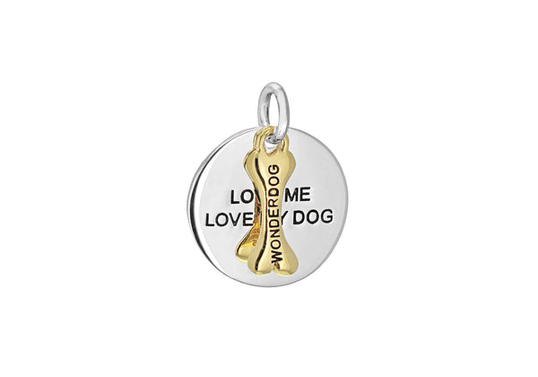 Sterling Silver Yellow Gold Plated Oxidised  17mm x 21mm 'Love Me Love My Dog' Disc 'Wonderdog' Bone Pendant