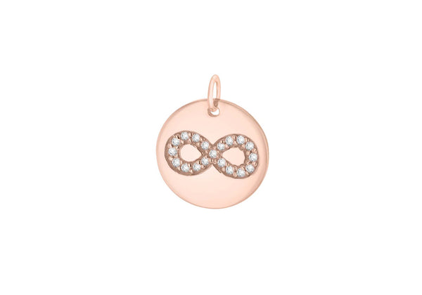 Sterling Silver Rose Gold Plated Zirconia  15.4mm x 18mm Infinity Disc Pendant