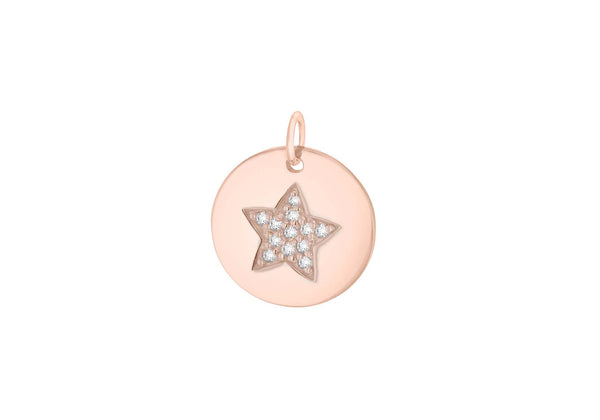 Sterling Silver Rose Gold Plated Zirconia Star Disc Pendant