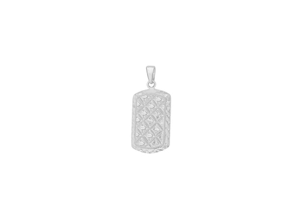 Sterling Silver 12.8mm x 28mm Diamond Cut Dog Tag Pendant