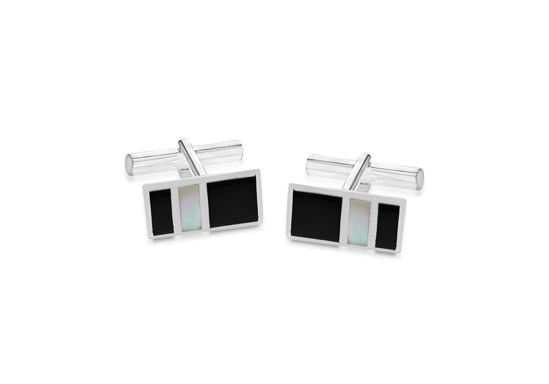 Sterling Silver 10.2mm x 18.8mm Onyx and Mother of Pearl Retangle Cufflinks