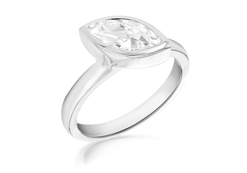 Sterling Silver White Zirconia  Stone Set Marquise S Ring