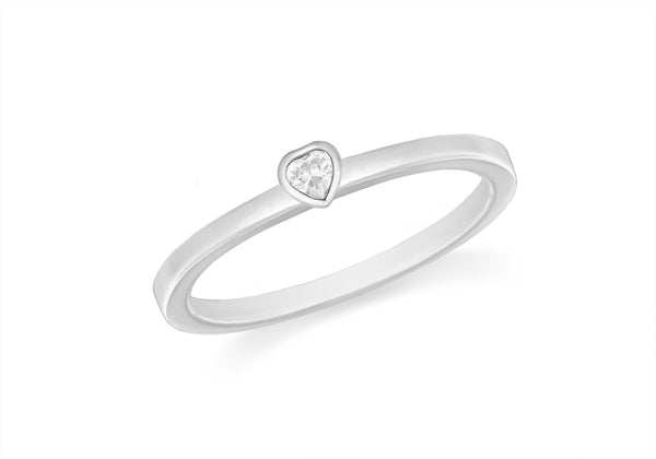 Sterling Silver White Zirconia  Heart Stacking Ring