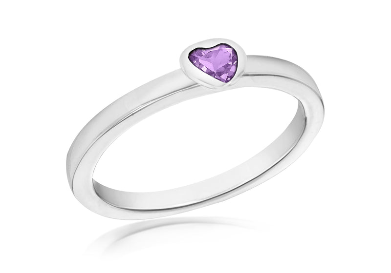 Sterling Silver Purple Zirconia  Heart Stacking Ring