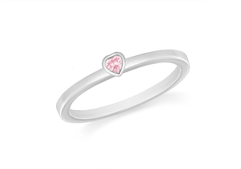 Sterling Silver Pink Zirconia  Heart Stacking Ring