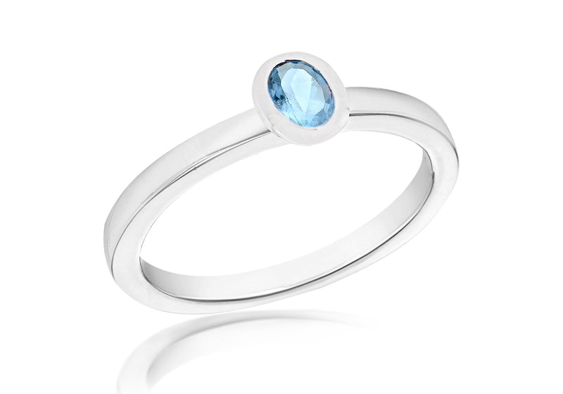 SILVER SYN BLUE Zirconia  OVAL S Ring
