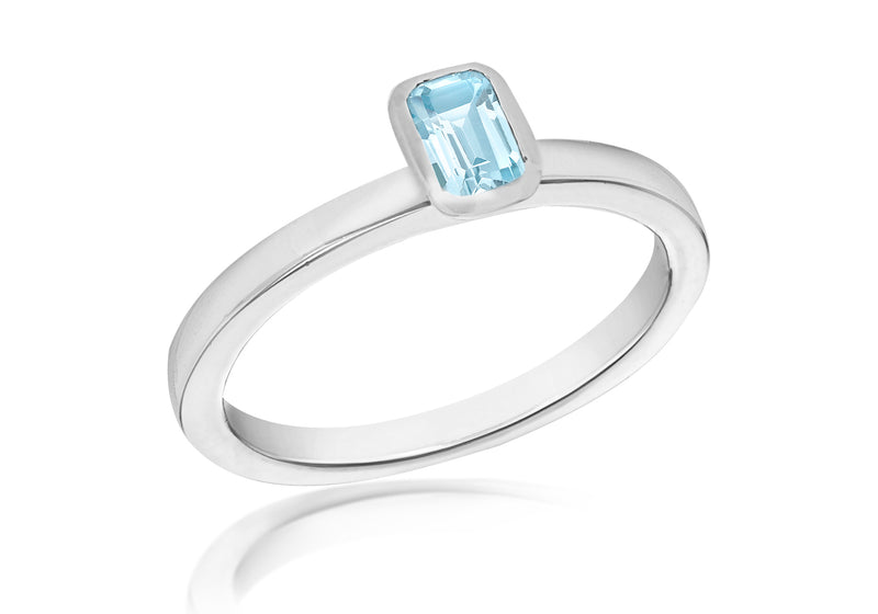 SILVER SYN BLUE Zirconia  RET S Ring