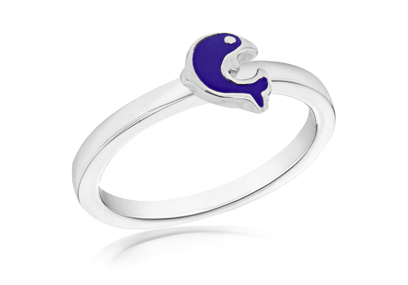 Sterling Silver Blue Dolphin S Ring