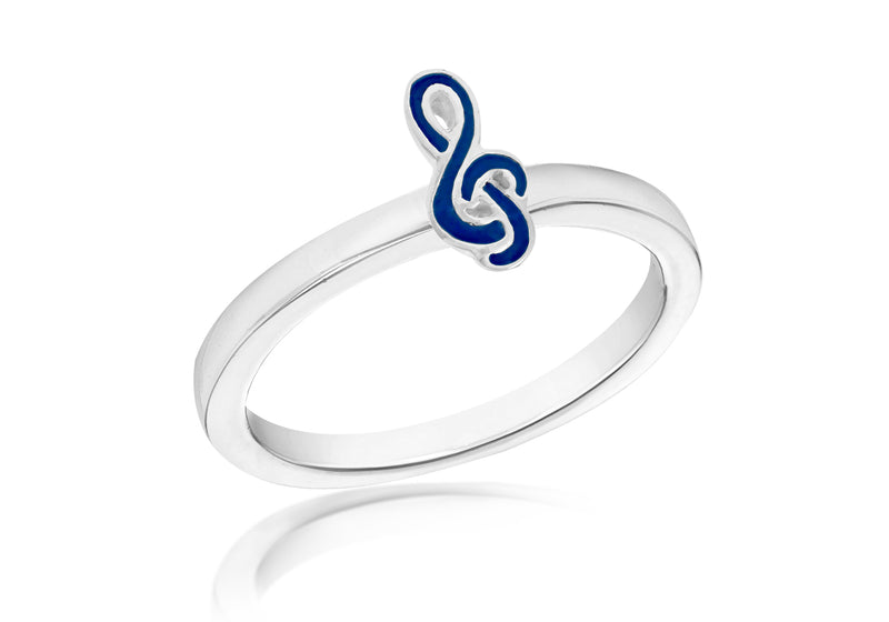 SILVER BLUE MUSI NOTE S Ring