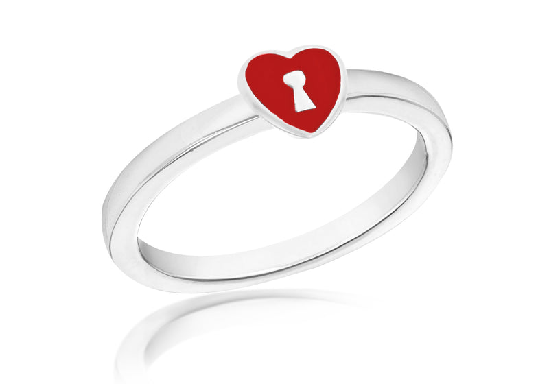 SILVER RED HEART/KEY S Ring
