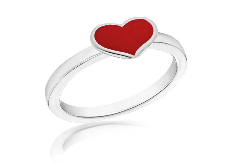 SILVER RED HEART S Ring