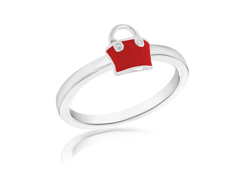 SILVER RED HANDBAG S Ring