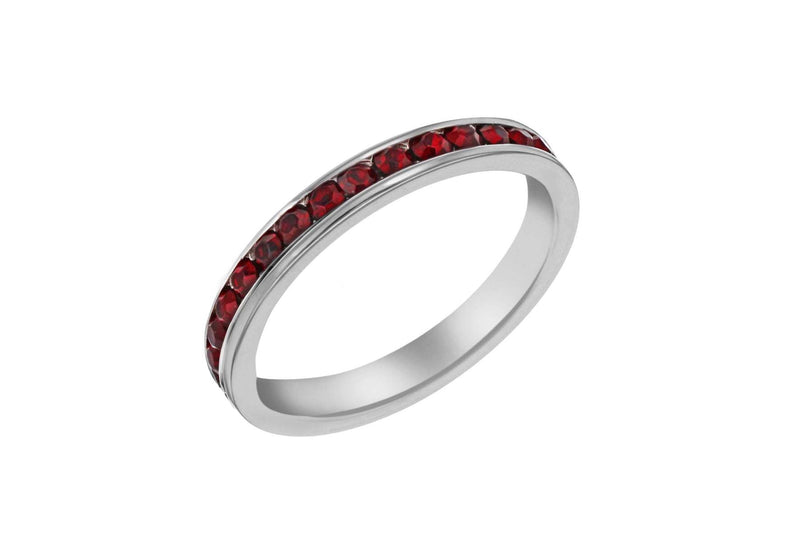 SILVER RED Crystal ET S Ring