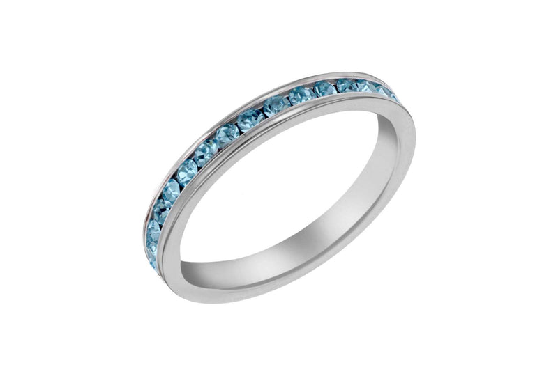 Sterling Silver Blue Crystal Eternity Ring