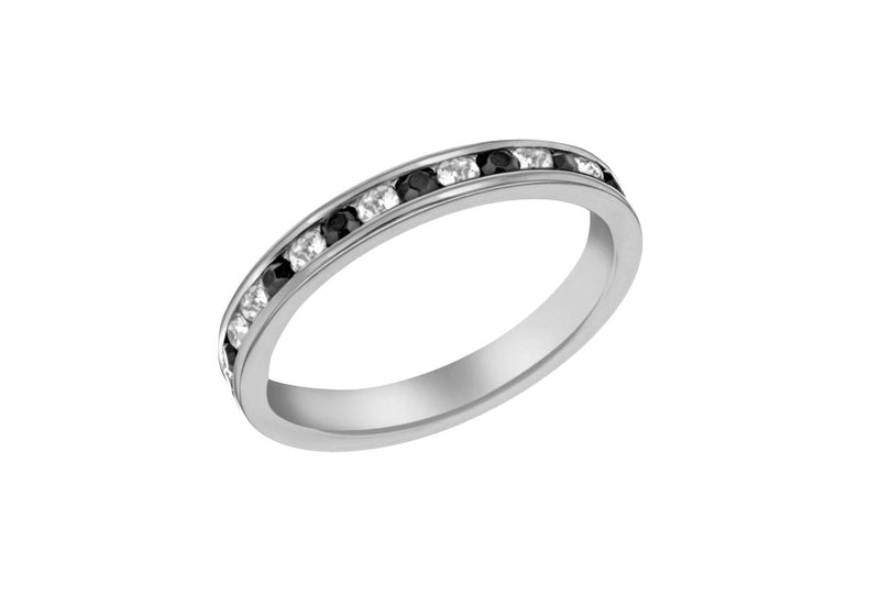Sterling Silver Black & White Crystal Eternity Ring