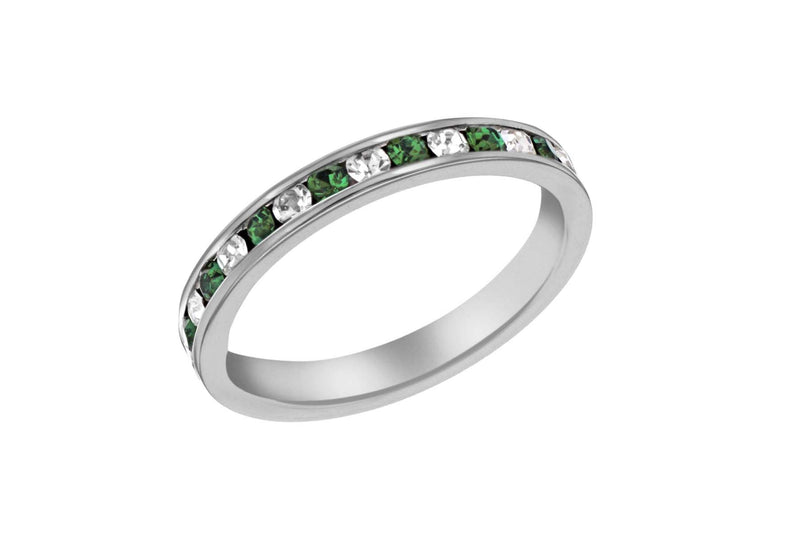 Sterling Silver Green & White Crystal Eternity Ring