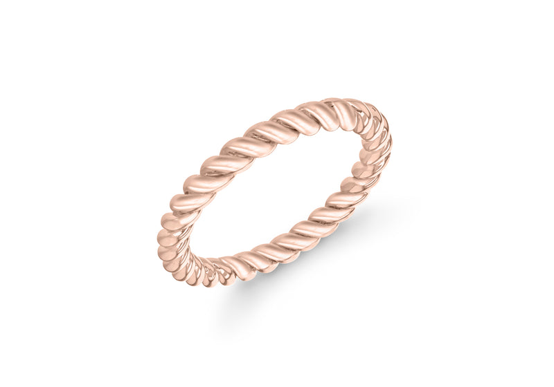 Sterling Silver Rose Gold Plated 3mm Twist Band Stacking Ring