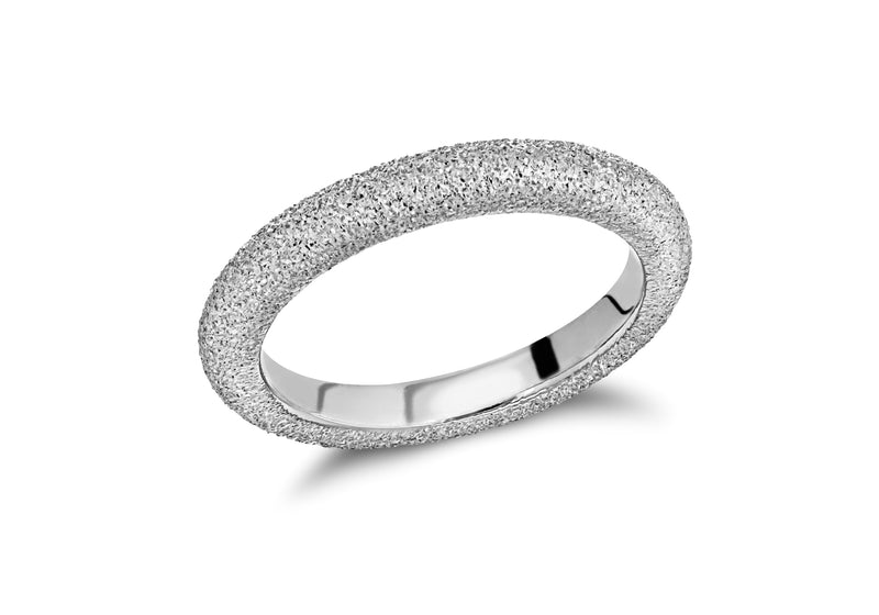 Sterling Silver Rhodium Plated 3mm Textured Band Stacking Ring