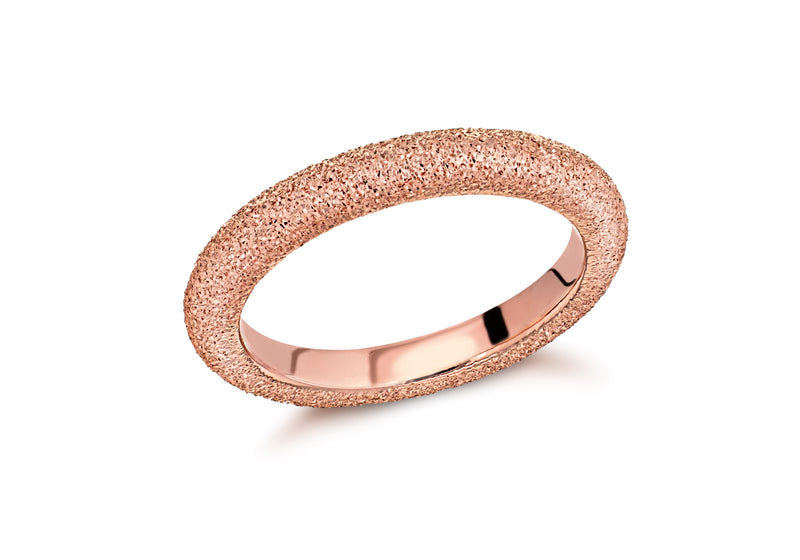 Sterling Silver Rose Gold Plated 3mm Textured Band Stacking Ring