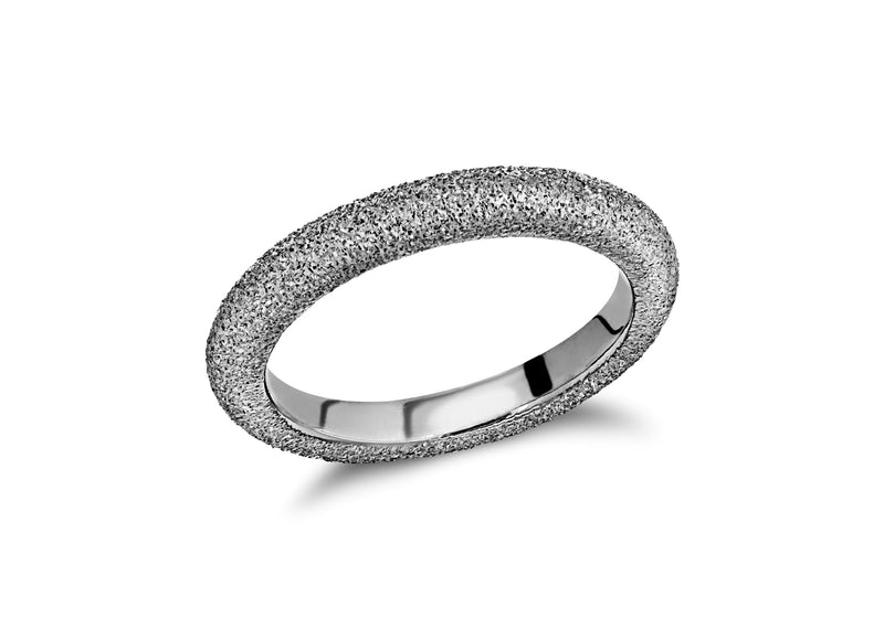Sterling Silver Black Rhodium Plated 3mm Textured Band Stacking Ring