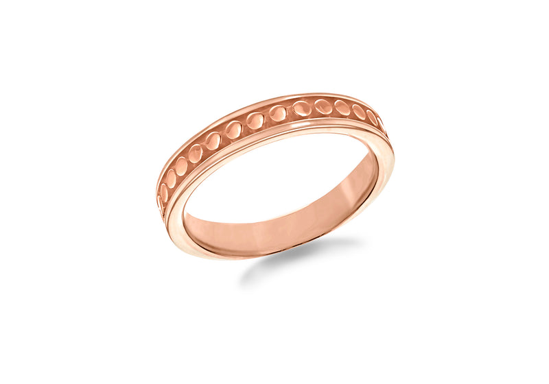 Sterling Silver Rose Gold Plated 4mm Dot-Patterned Band Stacking Ring