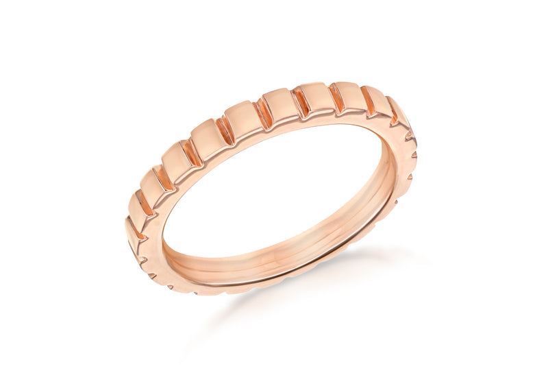 Sterling Silver Rose Gold Plated 3mm Ribbed Band Stacking Ring