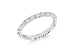 Sterling Silver Rhodium Plated 3mm Pyramid Band Stacking Ring