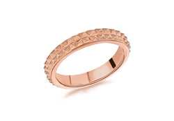 Sterling Silver Rose Gold Plated 4mm Double-Row-Pyramid Band Stacking Ring