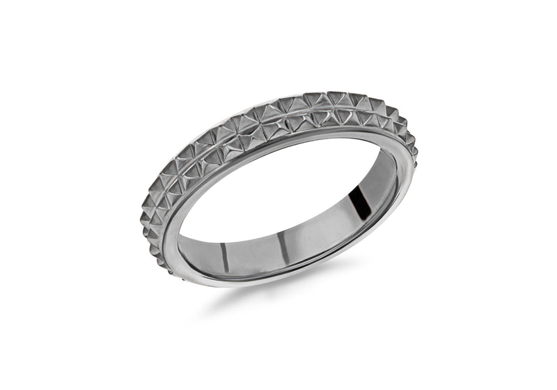Sterling Silver Black Rhodium Plated 4mm Double-Row-Pyramid Band Stacking Ring