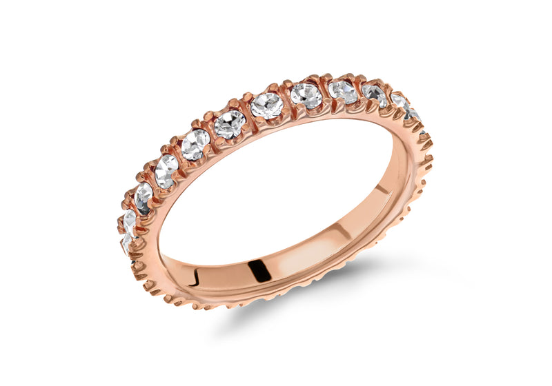 Sterling Silver Rose Gold Plated White Crystal 3mm Band Stacking Ring