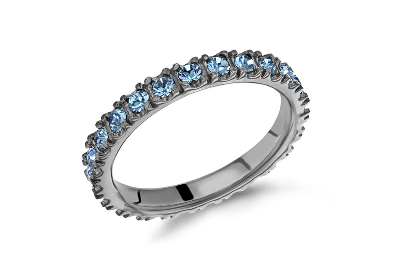 Sterling Silver Black Rhodium Plated Blue Crystal 3mm Band Stacking Ring