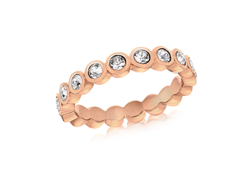 Sterling Silver Rose Gold Plated Round White Crystal 4mm Band Stacking Ring
