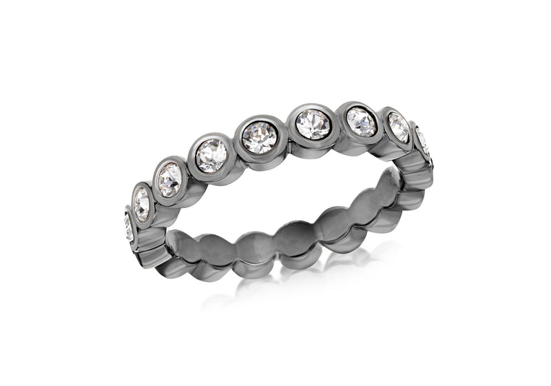 Sterling Silver Black Rhodium Plated Round White Crystal Band Stacking Ring