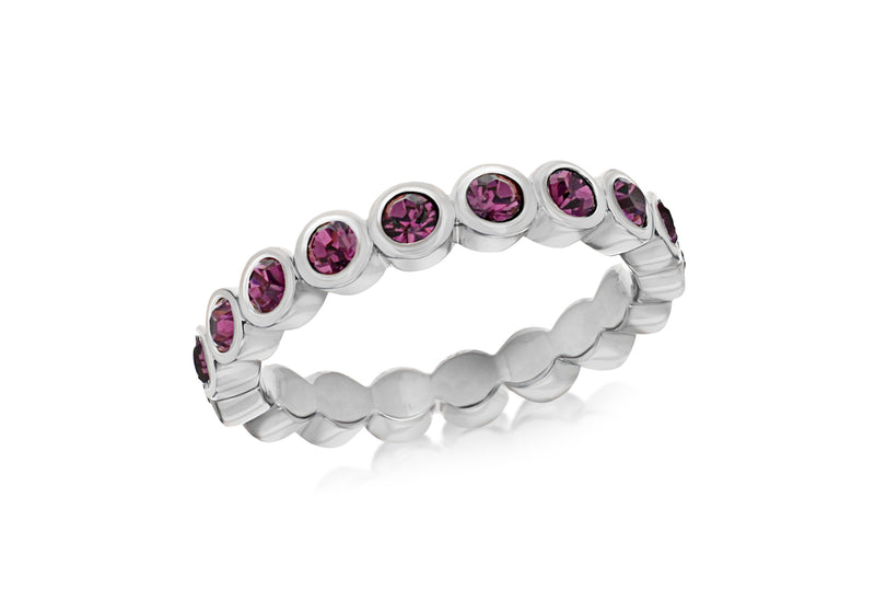 Sterling Silver Rhodium Plated Round Amethyst Crystal 4mm Band Stacking Ring