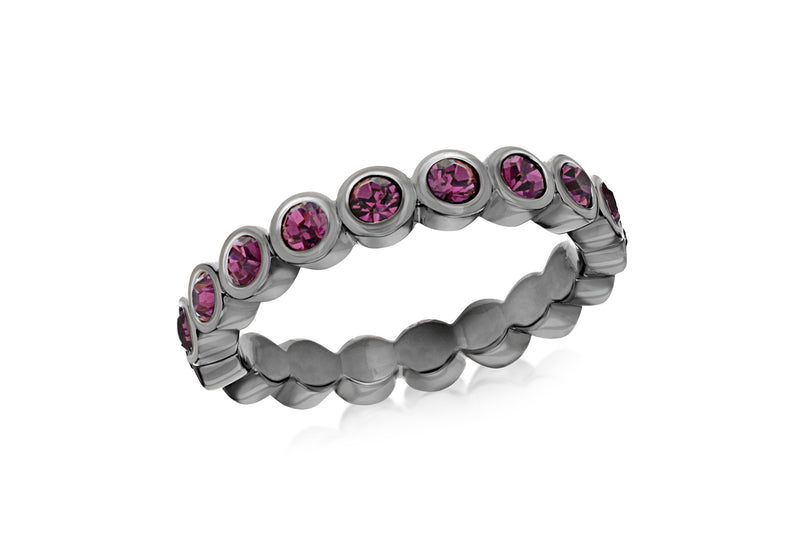 Sterling Silver Black Rhodium Plated Round Amethyst Crystal 4mm Band Stacking Ring