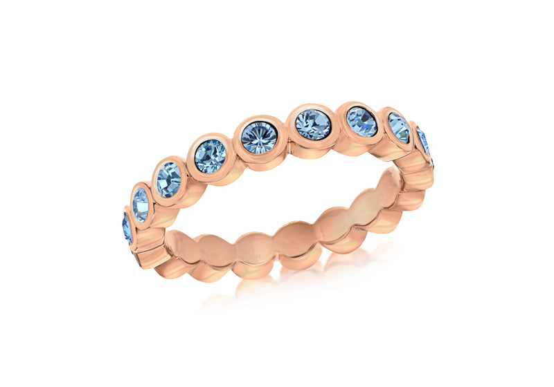 Sterling Silver Rose Gold Plated Round Blue Crystal Band Stacking Ring