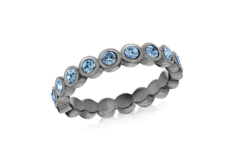 Sterling Silver Black Rhodium Plated Round Blue Crystal 4mm Band Stacking Ring