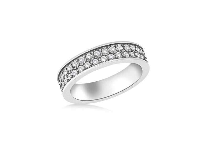 Sterling Silver Rhodium Plated Double Row White Crystal Band Stacking Ring