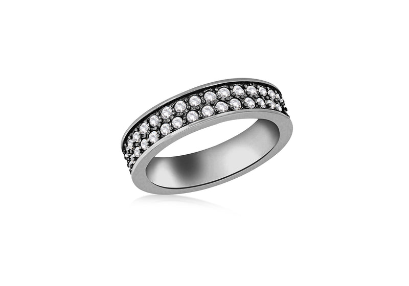 Sterling Silver Black Rhodium Plated Double Row White Crystal Band Stacking Ring