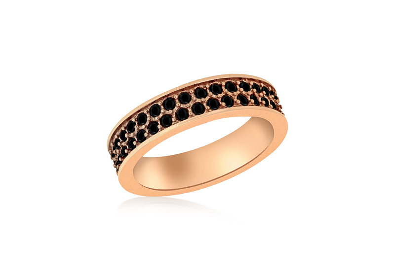 Sterling Silver Rose Gold Plated Double Row Black Crystal Band Stacking Ring