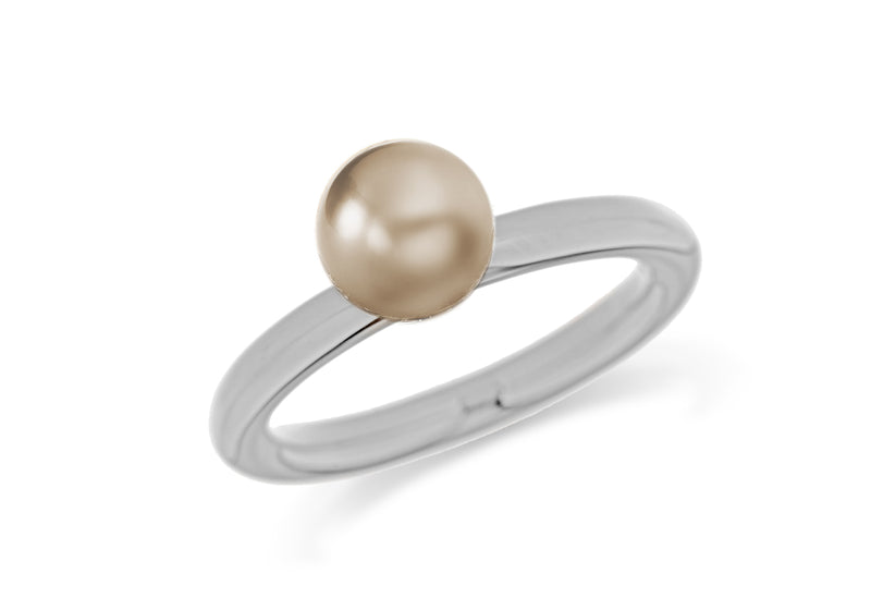 Sterling Silver Rhodium Plated Bronze Simulated Pearl Stacking Ring