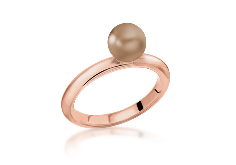 Sterling Silver Rose Gold Plated Bronze Simulated Pearl Stacking Ring